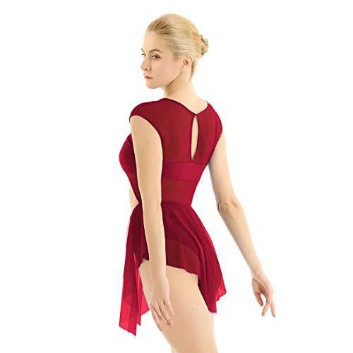 iixpin Damen Mesh Ballett Kleider Ballettanzug mit unregelmäßig Rock Tanz Trikot für Frauen Tanzkleider Trikotanzug Tanzanzug XS-XL Wein Rot X-Small -