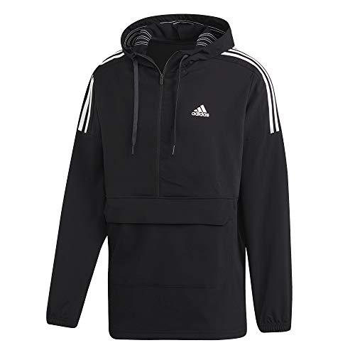 Herren Woven Zip (adidas Sport ID Anorak 1/2 Zip Woven Jacket, Herren XL Schwarz/Weiß)