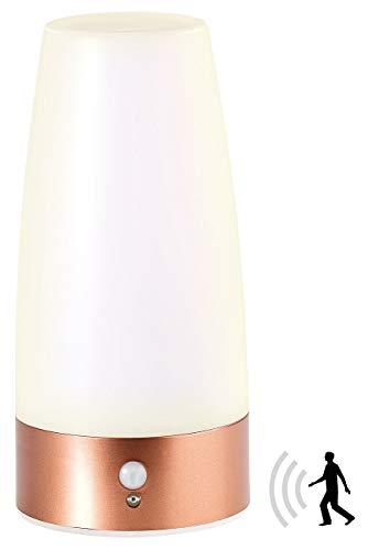 Lunartec Nachttischlampe Batterie: LED-Tischlampe mit PIR-Bewegungs-Sensor, batteriebetrieben, warmweiß (LED Tischleuchte Batterie)