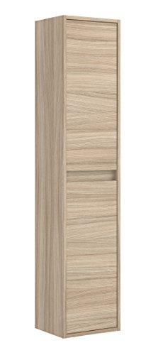 Miroytengo Columna baño 2 puertas armario auxiliar aseo lavabo suspendido color nature con estantes interiores 30x26x140 cm