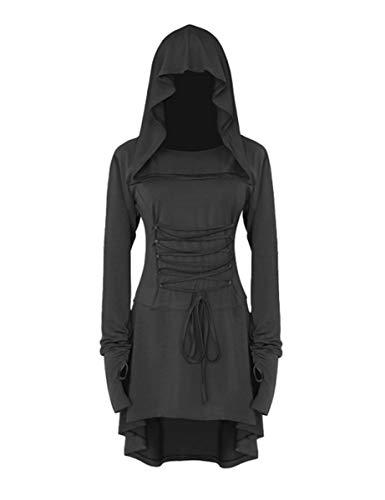 chuangminghangqi Renaissance Kostüm Damen Robe zum Schnüren Mittelalter Kleid mit Kapuze Langarm Retro Gothic Cosplay Halloween Karneval (M, (Robe Sexy Kapuzen Kostüm)