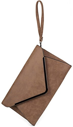 styleBREAKER borsa clutch a busta, borsetta da sera con design a quadri con bretelle e tracolla, donna 02012047, colore:Rosa Beige