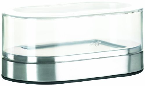 Emsa 508528 Butterdose, Edelstahl, 10 x 17 x 7.5 cm, Silber, Accenta (Dekorative Glas-schüssel)