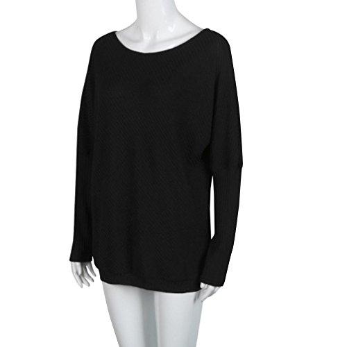 OverDose Femme Top épaules dénudées Casual Manches Longues Sweat-Shirt Confort Loose Bardot Blouse Noir
