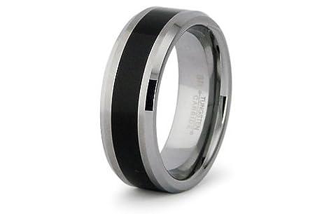 Gratuit Personnalisé Gravure Carbure de Tungstène anneau Bague avec incrustation de résine 8mm Noir - Taille 72 (Clôture VENTE