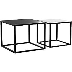 LIFA LIVING Ensemble de Tables Basses Gigognes de Salon, Lot de 2 Tables Basses Industrielle Carrée au Design Moderne, pour Cuisine, Chambre et Salon