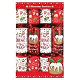 Christmas Cracker Family 12 Pack - Red & White - Christmas Pudding - Eat, Drink and be Merry