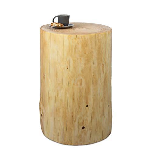 GREENHAUS Baumstamm Beistelltisch rund 25-30 cm Fichte massiv Handarbeit und Massivholz aus Deutschland Holzstamm Nachttisch
