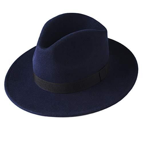 Fedora Hut für Frauen Männer Australische Wolle Elegante Filz Hut mit breiter Krempe Vintage Jazz Couple Cap (Gold Rush Kostüm)