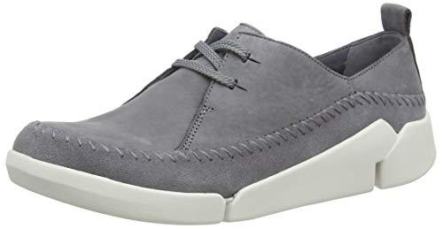 Clarks Tri Angel, Damen Low Top Sneakers, Grau (Grey/Blue Lea), 39 EU (5.5 Damen UK)