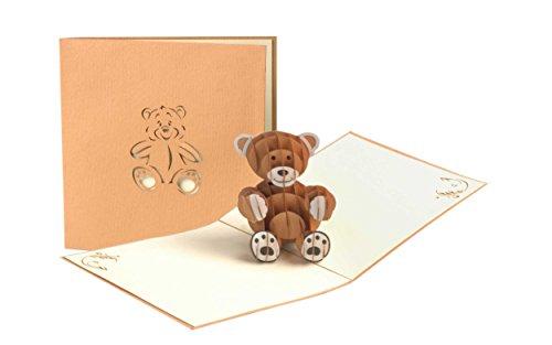 Geburtstagskarte Kinder mit süssem Teddy, Glückwunschkarte zum Geburtstag, Geburt Baby, Mädchen, Junge, Taufe, Kindergeburtstag Einladungskarte, 3D Pop-Up Karte, G10