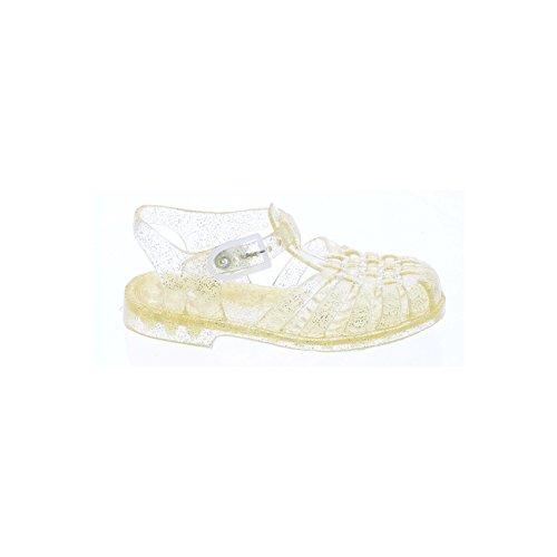 Sandales fille en plastique pailletée or Doré