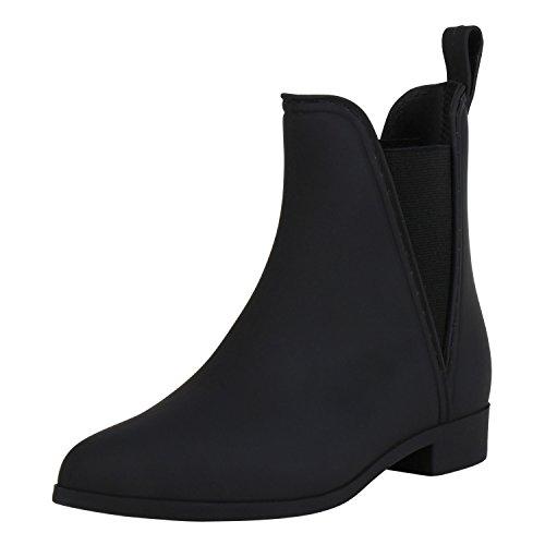 Wasserabweisende Damen Gummistiefeletten | Chelsea Boots | Dehnbare Gummieinsätze | Bequeme Passform | Gr. 36-41 Schwarz Nero