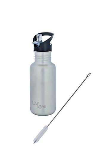 Liv&Me Trinkflasche 'Spirit' aus Edelstahl mit Sportdeckel 'Leisure', Farbe Edelstahl gebürstet. Auslaufsicher, stabil, lebensmittelechte Flasche für den Sport, Wandern, Radfahren. , Größe:500 ml (Glas Flasche Mit Cd-deckel)