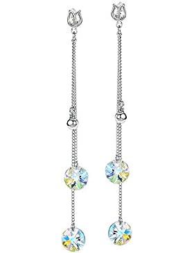 ❤Valentinstagsgeschenke❤ Swarovski Elements Ohrringe mit Kristall hängend Weiß Neoglory Jewellery