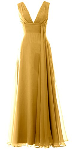MACloth Women Deep V Neck Long Bridesmaid Dress Chiffon Simple Prom Gown gold