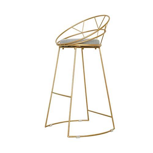 Comif-tabouret de bar Metall-Barhocker Cafe Gold High Stool, rundes Baumwollkissen, stabile Beinstruktur, mit Fußpedal und Rutschfester Matte (Sitzhöhe: 45 cm)