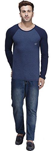Rigo Männer Langarm Solid Rundhals T-Shirt Baumwolle - Größe Erhältlich Blau