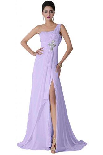 Sunvary Elegant 2015 Neu Ein-Traeger Chiffon Schlitz Falte Abendkleid Lang Partykleider Lilac