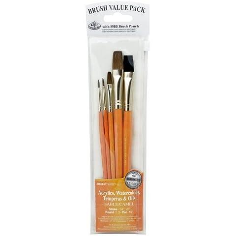 Brush Set Value Pack Sable/Camel 5/Pkg-Stroke 1/4