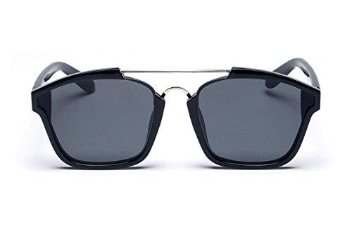 sojos quadrato Fashion lenti a specchio occhiali da sole astratto sj2003 nero Black / Grey