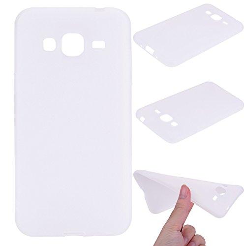 Nancen Case Samsung Galaxy J3 J310 / J3 (2016) (5,0 Zoll) Handy Hülle Einfarbig Weiss. Weich TPU Silikon Case