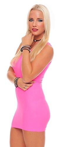 10823 Fashion4Young Damen Tailliertes Minikleid Long Shirt Top Körper betontes Kleid in 8 Farben 2 Gr. Neonpink