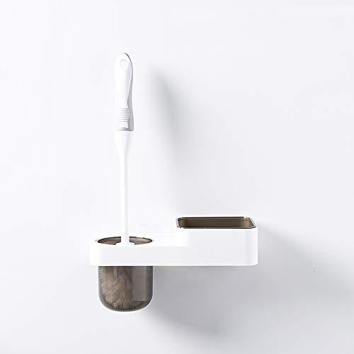 Liergou Toilette Darmreiniger Badezimmer-Toiletten-Bürsten-Satz-freier lochender an der Wand befestigter Toiletten-Bürsten-Halter-Toiletten-Mittel-Zahnstange Für Schlafzimmer (Farbe : Braun)