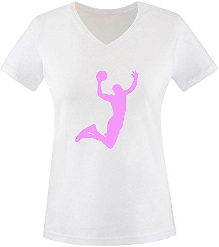 EZYshirt® Basketball | Slam Dunk Damen V-Neck T-Shirt Weiß/Rosa