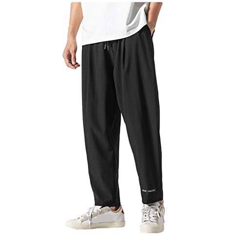 Klassische Stretch-wolle-hose (hahashop2 Herren Hose Straight Denton Chino Men Casual Strandhosen Slim fit Stretch Designer Hose Neu Lässige einfarbige Herren-Jogginghose mit neun Punkten)