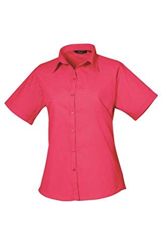 Premier Workwear Ladies Short Sleeve Poplin, Blouse Femme Rose vif