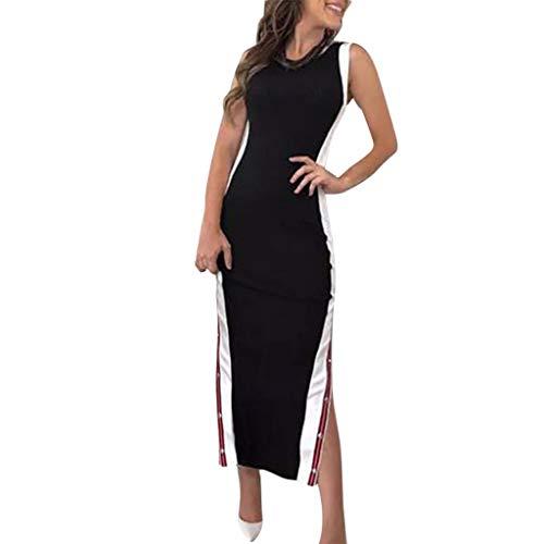 Jessboy Damen Sommer Mode Sexy Kleid hoch aufgeteilte Streifen Knopf Kleid