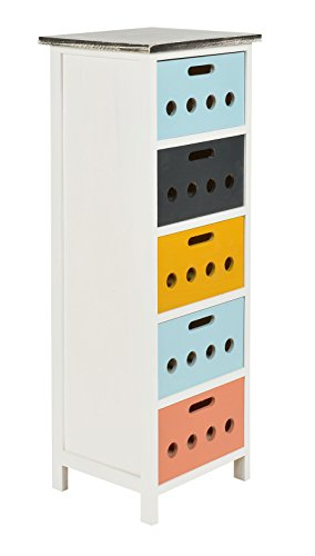 ts-ideen Landhaus Kommode 93 cm Regal Holz weiß bunt Wohnzimmer Flur Aufbewahrung Kinderzimmer Badezimmer Büro