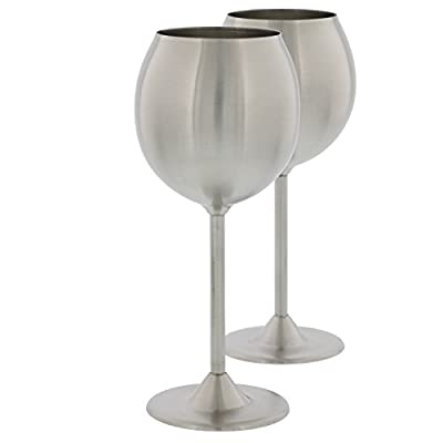 Stainless Steel Wine Glasses- Set of 2 Premium Quality 12 Ounce Wine Glasses