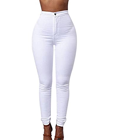 ZKOO Leggings Femmes Stretch Skinny Taille Haute Crayon Pantalon Collants Push Up Denim Pantalons Jeans Blanc