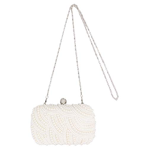 Weiß Abend-handtasche (HHdstb Mode Kristall Perle Weiß Abend Handtaschen Frauen Elegante Handtasche Hochzeit Dame Geldbörse Tasche)