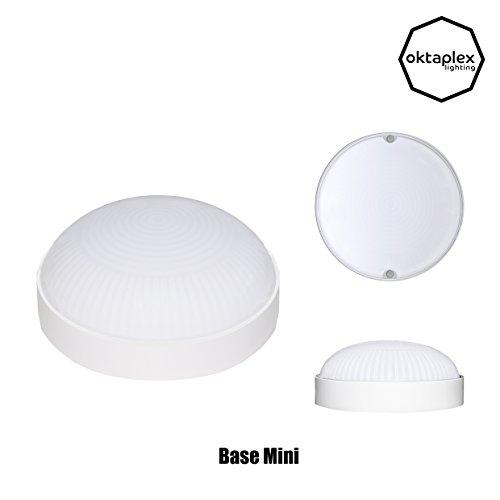BASE LED MINI Deckenleuchte Rund Kellerleuchte | Oktaplex lighting Ø 14 cm | IP65 | 4000K Neutralweiss | 800 Lm | 9W Ersetzt 60 Watt Lampe