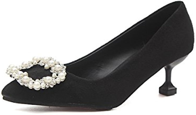 DIMAOL Damenschuhe PU Feder Komfort Heels Stiletto Heel Schuhe Pearl für Casual Beige Schwarz