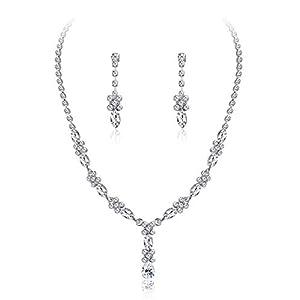 Adramata Strass Brautjungfer Set für Frauen Brautschmuck Sets Halskette Armband Ohrringe Set Geschenke Fit mit Hochzeitskleid