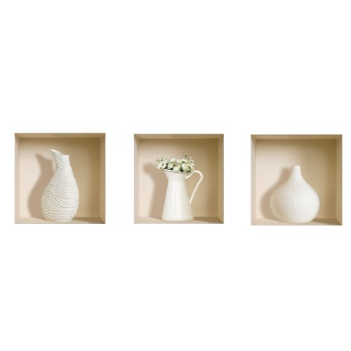 3D Effect Wall Decal White decor Re-usable stickers Easy to apply 32x32cm 216