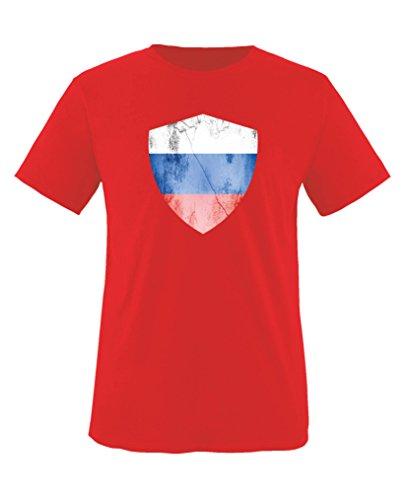 Comedy Shirts - Russland Trikot - Wappen: Groß - Wunsch - Kinder T-Shirt - Rot/Weiss Gr. 86-92
