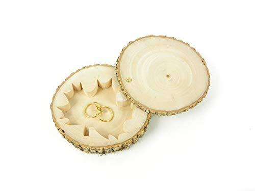 Porte alliances personnalisé original en bois, boîte à alliances fait main dans une tranche de bois pour...