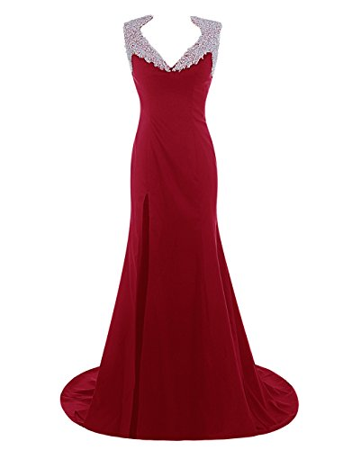 Dresstells, Robe de cérémonie Robe de soirée emperlée col en V traîne moyenne Rouge