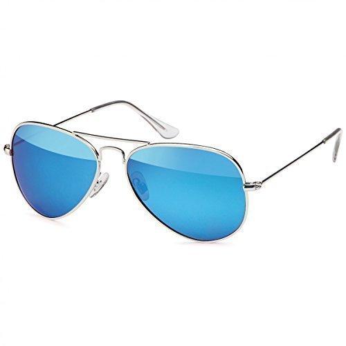 Retro Polarisiert Piloten-Brille Sonnen-brille Etui Nerd 20272, Rahmenfarbe:Silber/Blau
