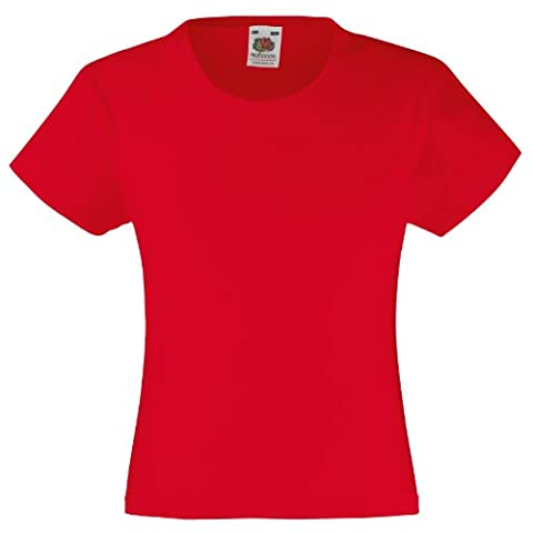 Fruit of the Loom Mädchen T-Shirt, kurzarm 7-8 Jahre,Rot