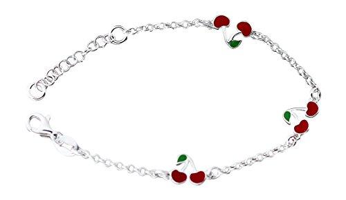 Hobra-Gold Silberarmband 925 mit kleinen roten Kirschen Armband Kinder Armkette massiv (Kirsche Armband)