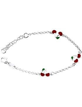 Hobra-Gold Silberarmband 925 mit kleinen roten Kirschen Armband Kinder Armkette massiv