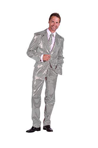 Pailletten-Anzug in silber | Elvis-Anzug 3tlg. für Karneval, Fasching oder Motto-Party (56) -