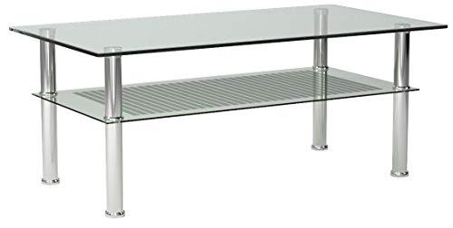 Photo Gallery ts-ideen - tavolino da soggiorno, in vetro di sicurezza monolastra di 10 mm e acciaio inox, 110 x 60 cm