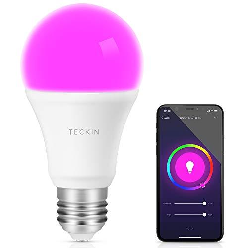 Smart WLAN LED Lampe Glühbirne TECKIN E27 Birne RGB Bulb mit mehreren Farben Wifi Glühbirne 800LM, steuerbar via App, kompatibel mit Alexa Echo, Echo Dot Zum Valentinstag